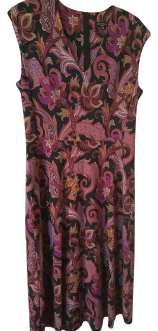 Item - Black Burgundy Red Brown 46 Made In Italy with Flowers Mid-length Cocktail Dress Size 12 (L)