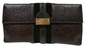 Gucci Gucci Leather GG Guccisima Wallet Clutch Brown