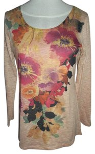 Coldwater Creek Long Sleeve Made In Us Imported Fabric T Shirt Peach floral