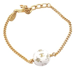 Chanel Chanel Vintage Gold Plated Chain White Crystal Ball Bracelet