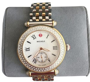 Michele $2200 NWT Caber Diamond MOP Two Tone Gold Watch MWWW16A000066
