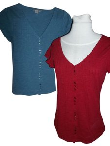 Isabella Bird Red Petite Pin Tucks Buttons Cap Sleeves Button Down Shirt Blue