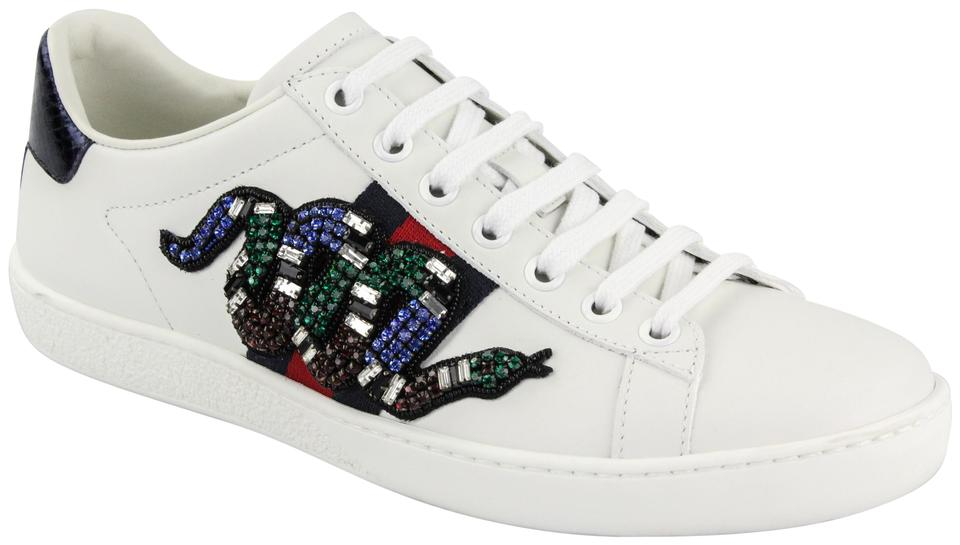 a248ed55a7c6 Gucci Multicolor Snake-trimmed Embellished Leather Sneakers Sneakers ...