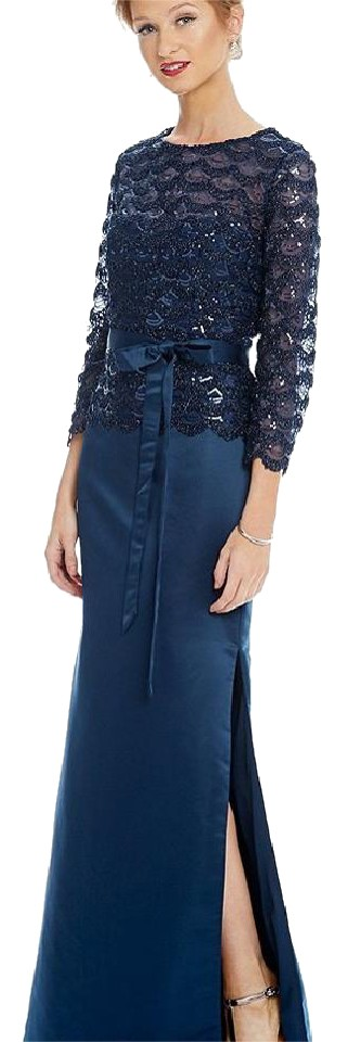 JS Collections Navy Sequin Lace Mock Two Piece Gown Long Formal ...