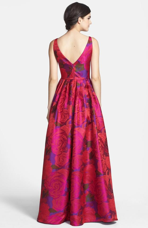 Adrianna Papell Magenta Print Jacquard Ballgown Long Formal Dress ...