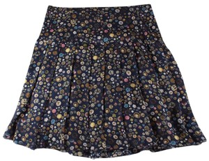 Chanel Seashell Pleated Navy Silk Print Skirt Blue