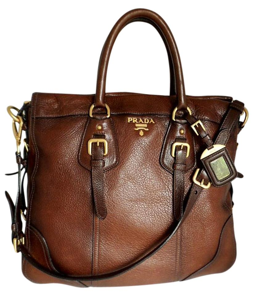 3abb9641a03f4f Prada Cervo Antik Tote Cacao with Gradient Accent Bn1191 Deerskin Leather  Shoulder Bag