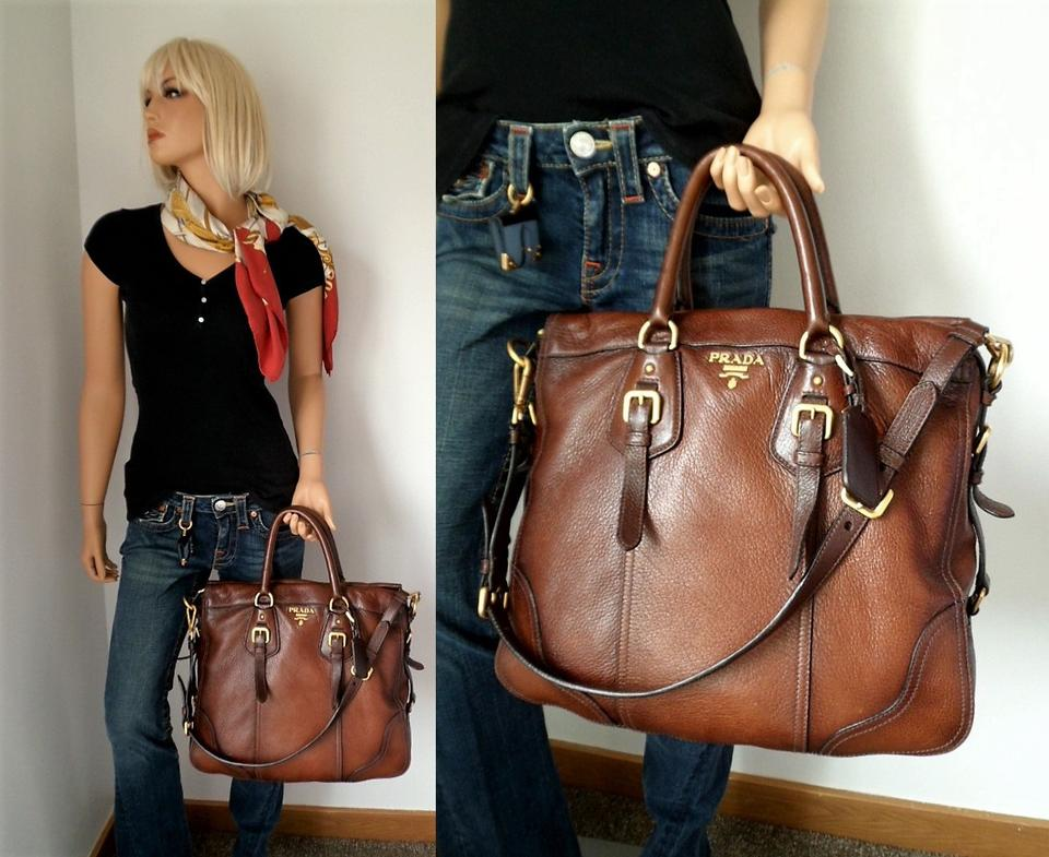 66cfc5520f8d Prada Cervo Antik Tote Cacao with Gradient Accent Bn1191 Deerskin Leather Shoulder  Bag - Tradesy