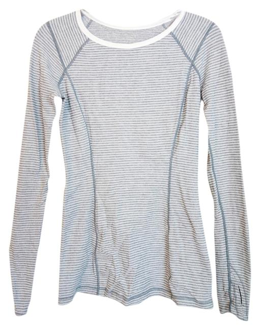 Item - Grey and White Stripe Turn Around Activewear Top Size 4 (S, 27)