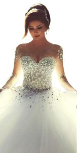 Other Sheer Long Sleeve Wedding Dress With Rhinestones Crystals Backless Wedding Dress