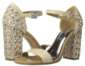 Coach Leather Platform Natural Silver Metallic Sandals