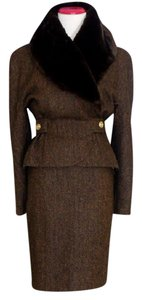 Mansfield London Clothes Mansfield London Skirt Suit Brown Fur Collar Hourglass Size 8 Tweed