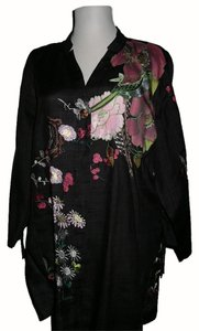 Citron Mandarin Style Embroidered Floral Ramie Top Citron Ramie Embroidered