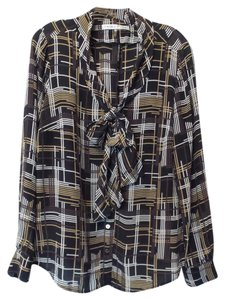 Trina Turk Silk Button Up Like New Top Black, Tan, Brown, Off-White