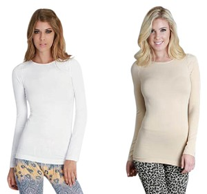 Nikibiki Long Sleeve Crew Neck Top White and Beige
