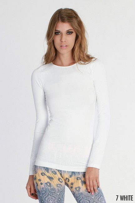 Nikibiki Sleeve Crew Neck Top White and Beige Image 1