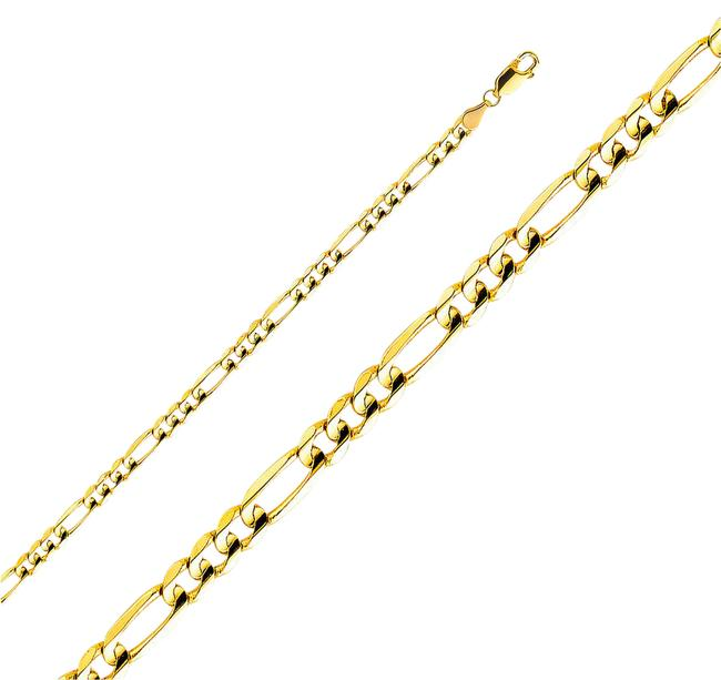"""Item - Yellow 14k 4.5 Mm Figaro 3+1 Chain - 7.5"""" Necklace"""