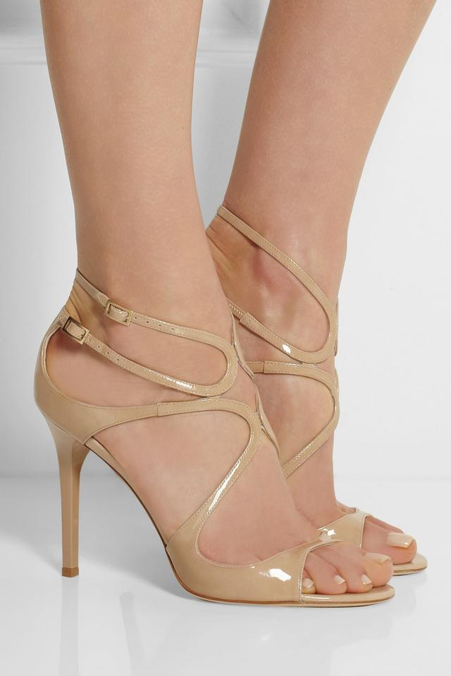 fcb549d28f33 Jimmy Choo Nude Lang 100mm Patent Leather Sandals Size US 5.5 ...