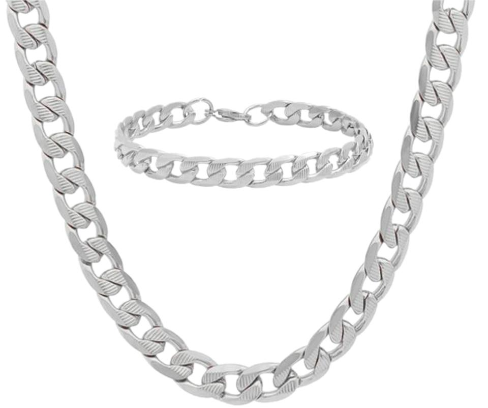 Other Cuban Men S Matte Finish Chain W Matching Bracelet Set