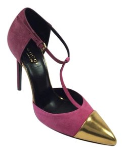 Gucci Suede Pump Cap Toe Pink Pumps