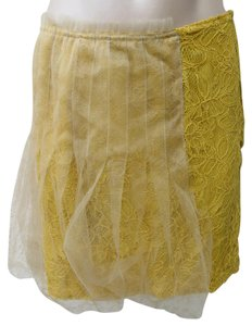 Rodarte for Target Lace Mini Stretch Knit Size 1 Small Tulle Rayon Mini Skirt Yelllow