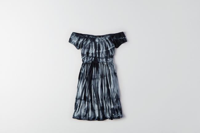 American Eagle Outfitters short dress Blue Tie-dye Off The Shoulder Short Sleeved Scoop Back Scoop Neck on Tradesy Image 1