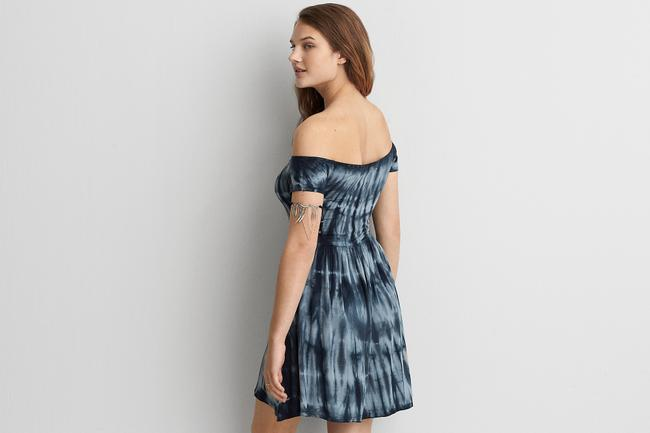 American Eagle Outfitters short dress Blue Tie-dye Off The Shoulder Short Sleeved Scoop Back Scoop Neck on Tradesy Image 2