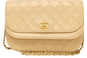 Chanel Quilted Flap Chain Woc Boy Cc Logo Turnlock Satchel in beige