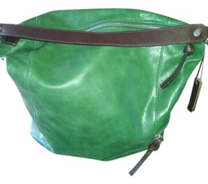 Tano Satchel in Lime green with brown trim