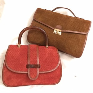 Etra Vintage Handbag Woven Leather Satchel in Red Brown