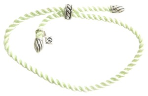 David Yurman Adjustable Green Silk Cord Bracelet with Silver-Plated Tips and Bale