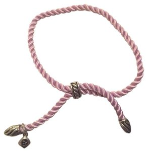David Yurman Adjustable Lavender Silk Cord Bracelet w/ Silver-Plated Tips and Bale