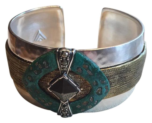 Item - Sterling Silver with Green Patina Accent and Brass Threading Grey Hematite Stone New Cuff Bracelet
