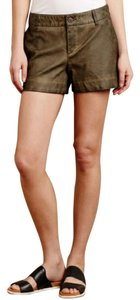 Anthropologie Leather Vegan Faux Leather Pilcro Mini/Short Shorts Grayish Green