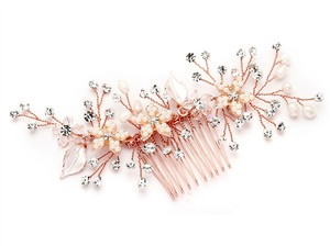 Mariell Rose Gold Comb with Silvery Leaves Freshwater Pearl 4425hc-i-rg Hair Accessory