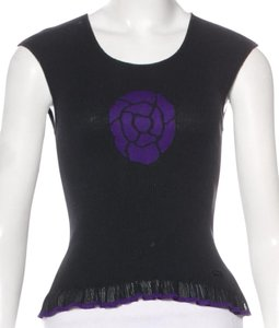 Chanel Interlocking Cc Logo Sleeveless Coco Camellia Top Black, Purple