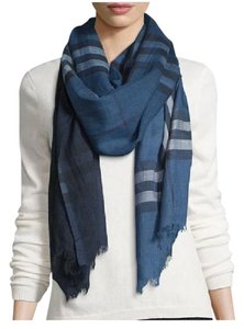 Burberry $395 Burberry Ladies Blue Silk/Wool Ombre Gauze Check Scarf Fringed