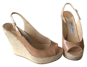 Jimmy Choo Polar Sping Jc Nude Patent Leather Wedges