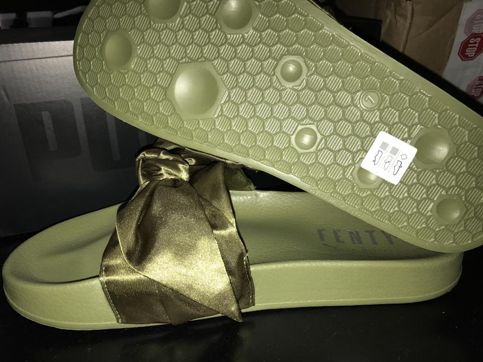 a88285055ca1 FENTY PUMA by Rihanna Olive Branch   Green Bow Women s Slide Sandals ...