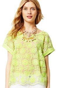Anthropologie Lace Short Sleeve Top Yellow