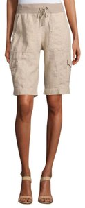 Eileen Fisher Xsmall Drawstring Linen Bermuda Shorts Natural