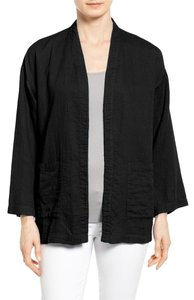EILEEN FISHER Long Boxy Organic Cotton Langenlook BLACK Jacket