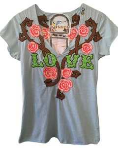 Joystick Rose Flower Graphic Design Embroidered Summer T Shirt Blue
