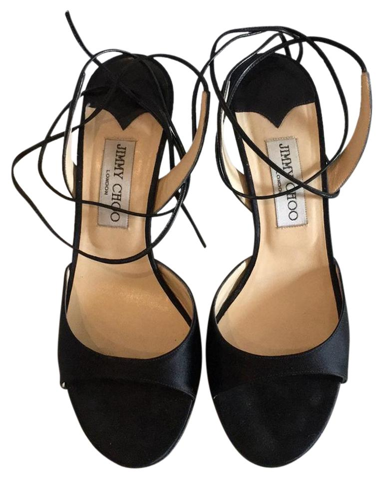 Jimmy Leather Choo Black Satin and Leather Jimmy Sandals 9c381a