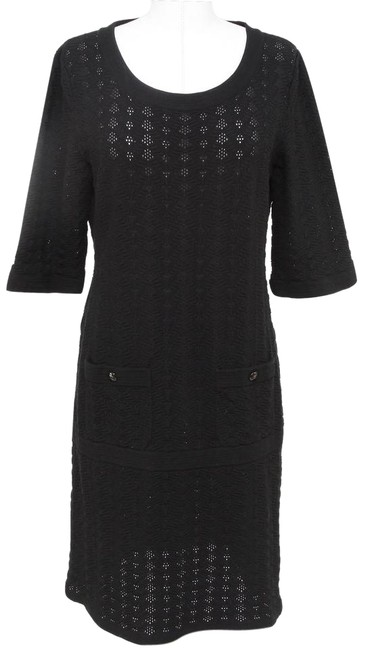 Item - Black 13p 2013 Cotton Knit Sweater 3/4 Sleeve Pattern 40 Mid-length Short Casual Dress Size 6 (S)