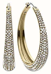 Michael Kors Michael Kors Brilliance Statement Hoops Earrings Gold Tone Crystal Pave MKJ3672