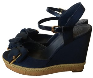 Tory Burch Sandals Newport Navy Wedges