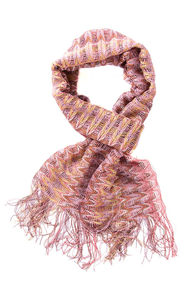 2c0092a6ca Missoni Pink Open Weave Light Weight Fringed Edge Scarf Wrap - Tradesy