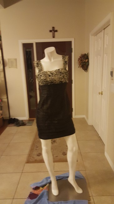 Item - Cream and Black Lacey Tiered Sleeveless Short Cocktail Dress Size Petite 6 (S)