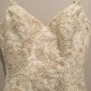 Maggie Sottero Ivory Silk Couture Sexy Wedding Dress Size 2 (XS)